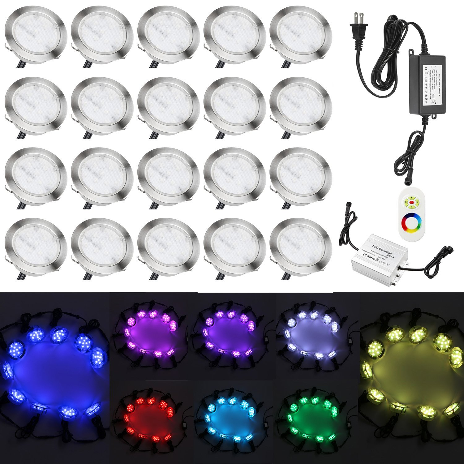 20x QACA Low Voltage Outdoor Path Lights Kit for Garden Patio Recessed Underground Step Stairs LED Lamps DC 12V Waterproof IP67 (RGB)