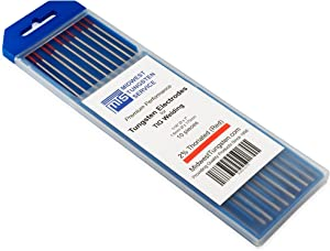 "TIG Welding Tungsten Electrodes 2% Thoriated (Red, WT20) 10-Pack (1/16"")"