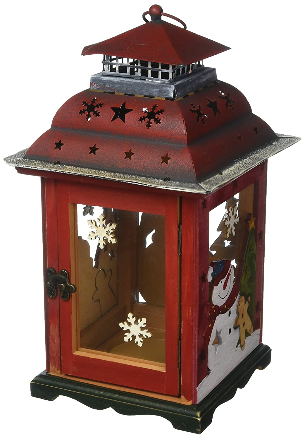 Clovers Garden 13 Christmas Wooden Snowman Lantern Decoration Vintage Red Decorative Holiday Table Centerpiece Or Hanging Lantern For Pillar Candle