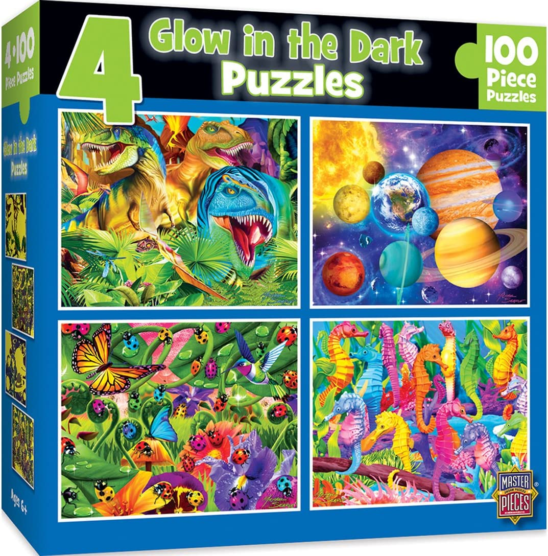 MasterPieces Glow in the Dark 4-pack Multipack 100 Piece Puzzles
