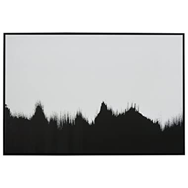 Abstract Black and White Print of Tree Line in Black Frame, 45  x 30