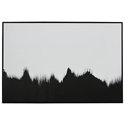 Abstract black and white print of tree line in black frame 45 x 30quot