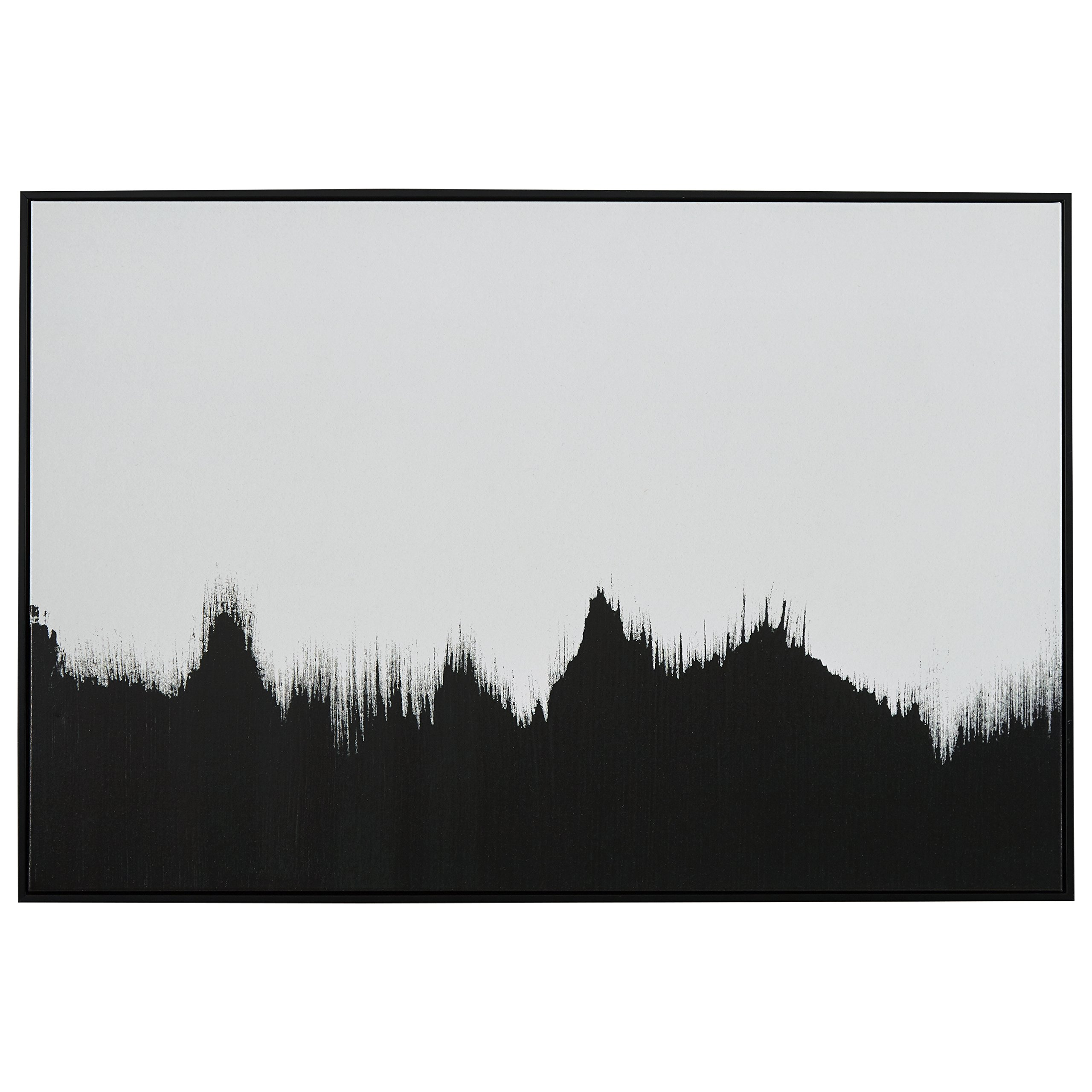 Abstract Black and White Print of Tree Line in Black Frame, 47'' x 32''