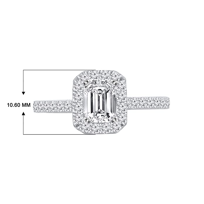 Stylish 4.50 Ct Emerald Cut Halo Diamond Women Engagement Ring White Gold Finish