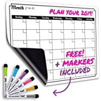 "Dry Erase Monthly Calendar Set-Large Magnetic White Board & Grocery List Organizer For Kitchen Refrigerator - Best For Smart Family Planners - Free Markers - 17"" x 13"""
