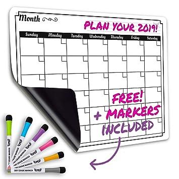 Calendario mensual de borrado en seco tablero blanco magnético Set/grande y lista de comestibles Organizador para cocina frigorífico/mejor para Smart ...