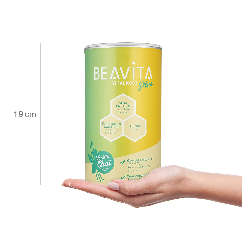BEAVITA Vitalkost Plus Sabor Vainilla Chai | 572g (10 porciones) | 207 kcal | Sin gluten | Suplemento con proteína, vitaminas y minerales | Fórmula ...