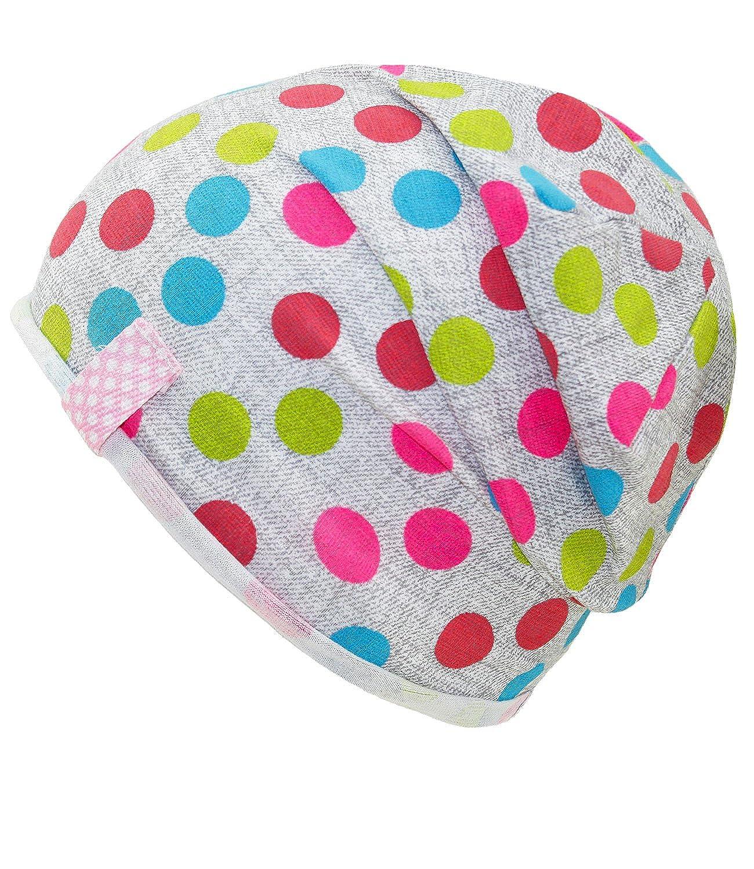 EveryHead Fiebig Mädchenbeanie Jerseybeanie Sommerbeanie Beanie Jerseymütze Sommermütze Baumwollmütze gepunktet für Kinder (FI-87661-S17-MA1) inkl Hutfibel