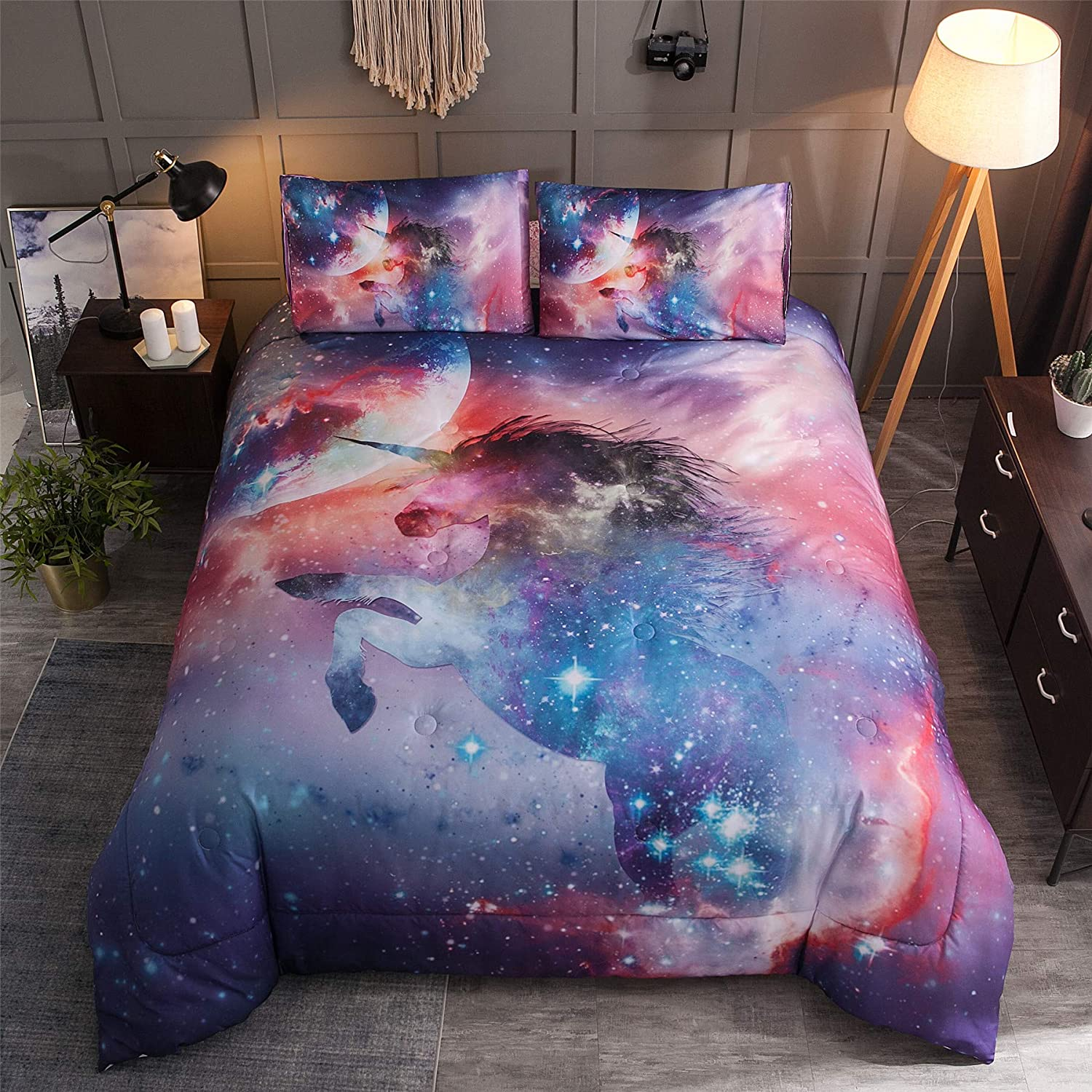 A Nice Night Mythical Animals Unicorn Galaxy Comforter Set Queen Size,Oil Printing Outer Space Bedding Sets (Mythical Unicorn, Queen)