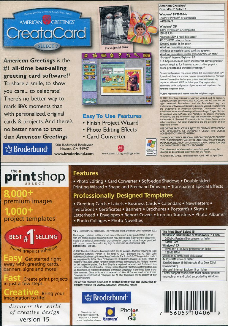 Amazon Creatacard Select 7 The Print Shop Select 15
