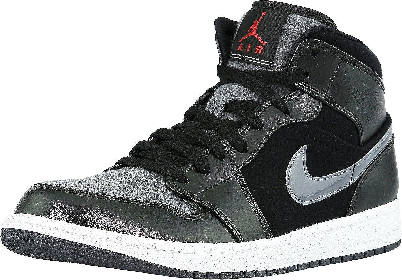 NIKE Men's Air Jordan 1 Mid Prem Black/Gym Red-Dark Grey-White Ankle-High Leather Fashion Sneaker - 8.5M B01LXOPFWF Parent
