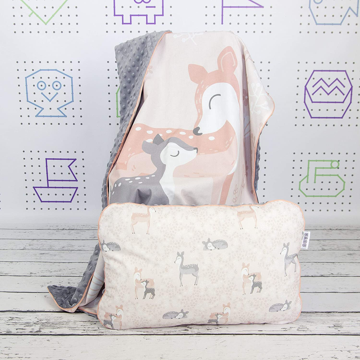 Soft Pink Roe Deer Baby Crib Bedding Minky Blanket With Panel Print And Flat Infant Pillow Nuva Amazon Co Uk Handmade