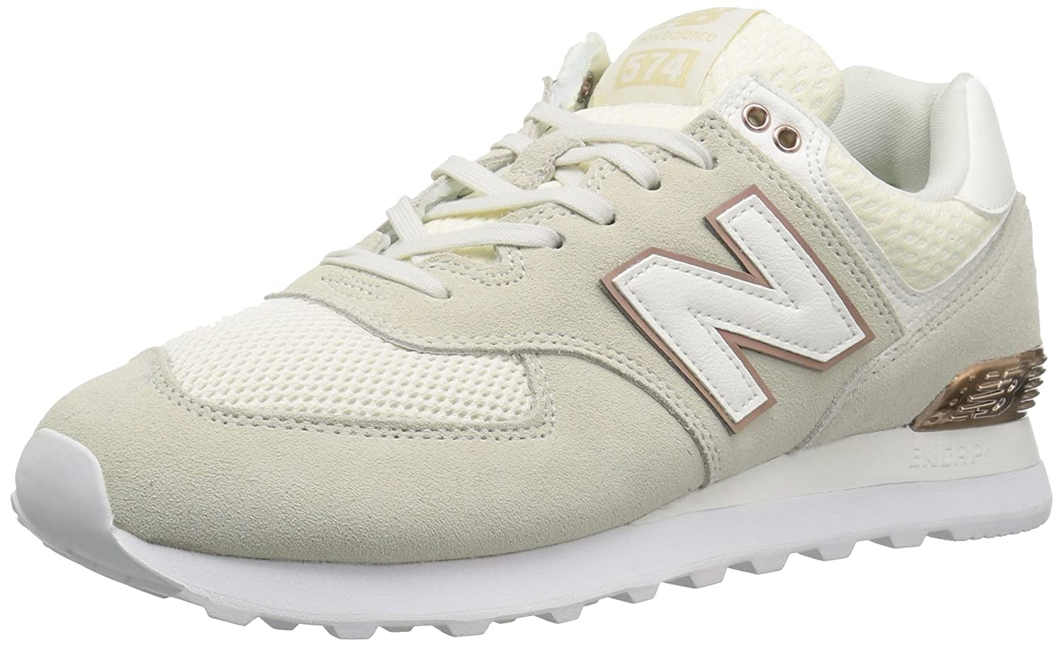New Balance Women's 574v2 Sneaker B0751SFJ9J 9 B(M) US|Sea Salt/Rose Gold/Metallic