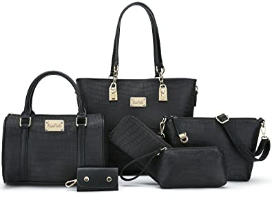 Women Shoulder Handbag for Work Purse 6 Piece Set Bag (Black-3 ... ddfcb57c08d74
