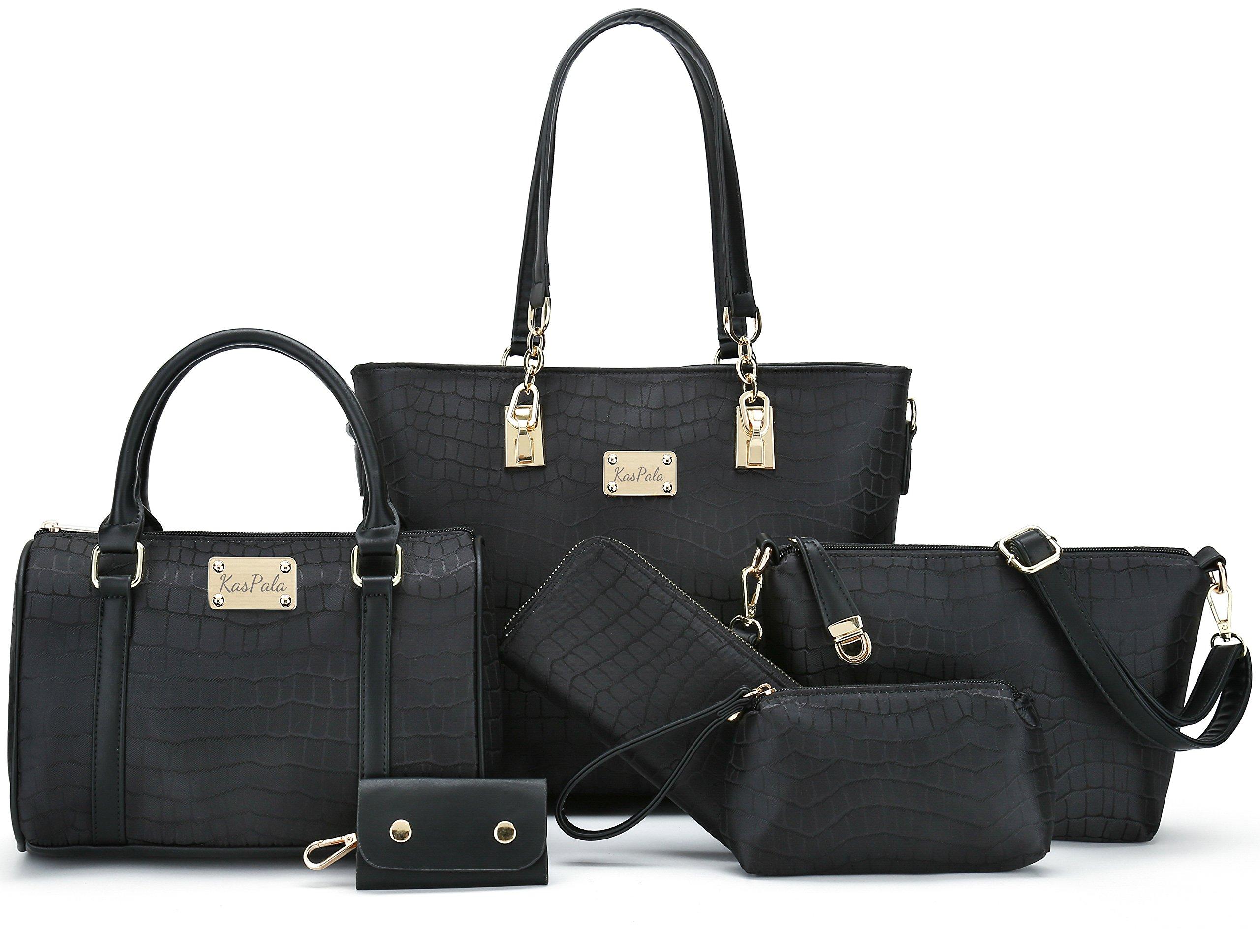 Women Shoulder Handbag for Work Purse 6 Piece Set Bag (Black-3)