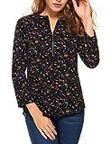 Dozenla Women Casual O-Neck Tops Cuffed Sleeve Chiffon Blouse Shirt with Zipper