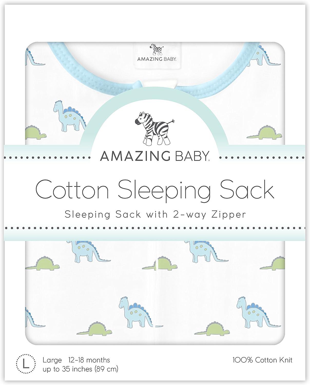 Amazing Baby by SwaddleDesigns Gigoteuse en Coton avec Fermeture /Éclair /à Double Sens Moyen Petits Dinosaures 6-12 Mois Bleu Pastel