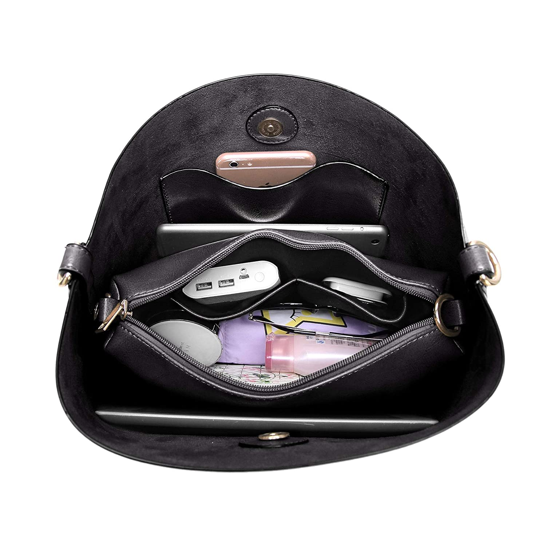 42b2837c82b6 Amazon.com  BAIGIO Women s PU Leather Purses and Handbags Vintage Hobo Tote  Satchel Designer Shoulder Bags with Removble Crossbody Bags (Black-2)  Shoes