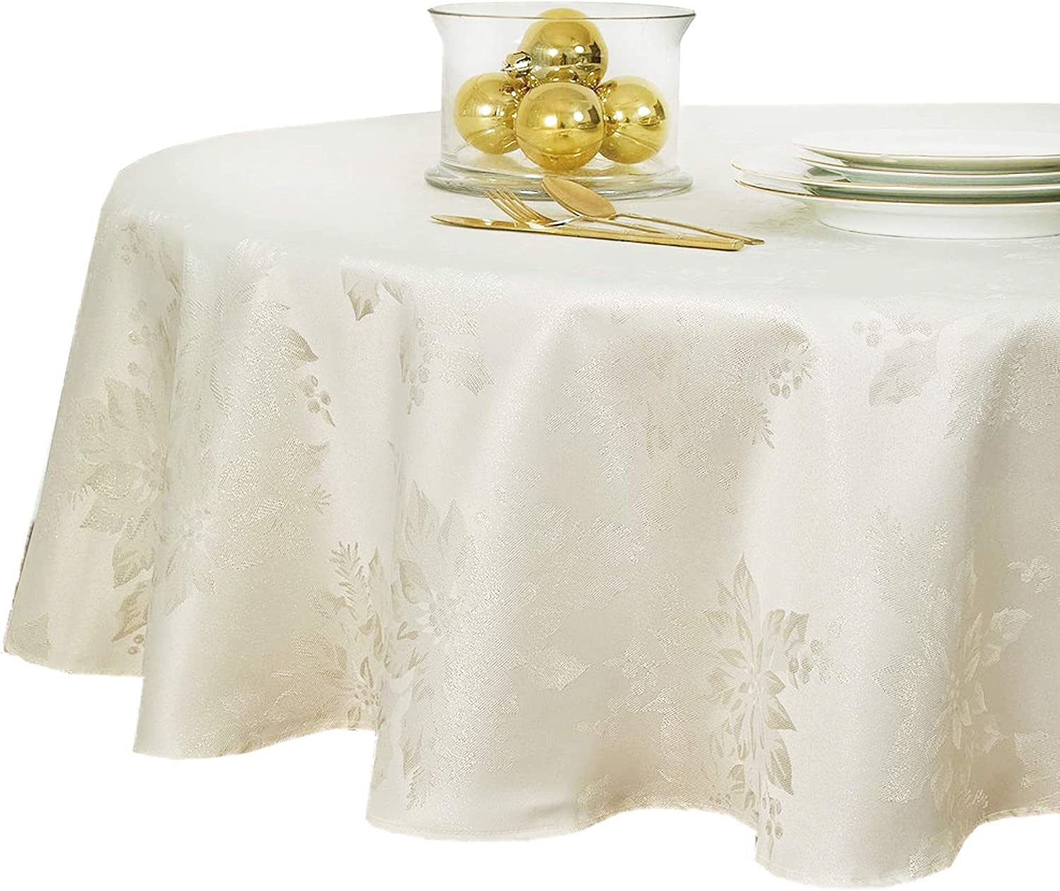 Metallic Holiday Poinsettia Damask Christmas Holiday Tablecloth - 70 Inch Round, Ivory/Gold