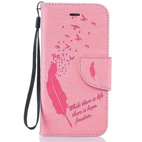 Coque iPhone 6 Plus,Flip Wallet Etui pour iPhone 6S Plus,iPhone 6S Plus Housse Pink /Étui en PU Cuir /à Rabat Portefeuille Motif Chat Mignon Fentes de Carte Folio Magnetique Protective Case Cover