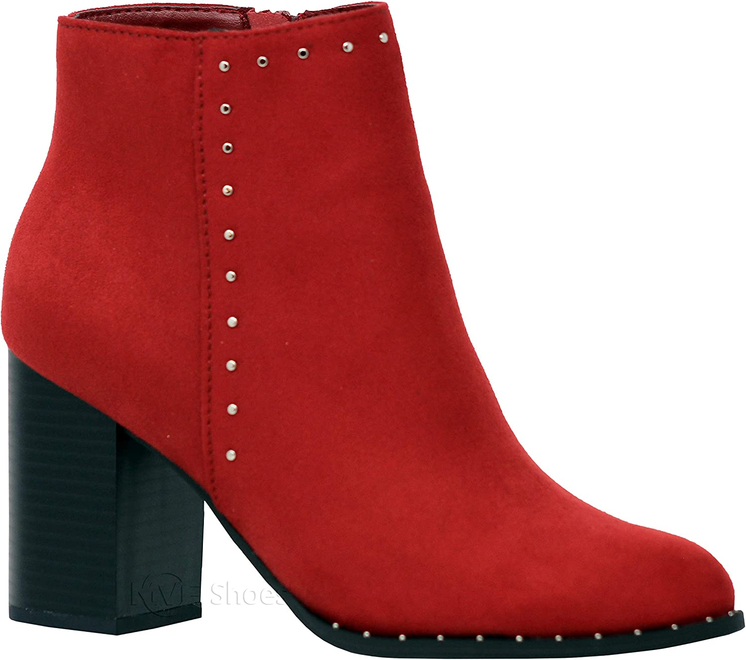 MVE Shoes Womens Stylish Comfortable Low Chunky Cutout Pointed Toe Heel Ankle Boot