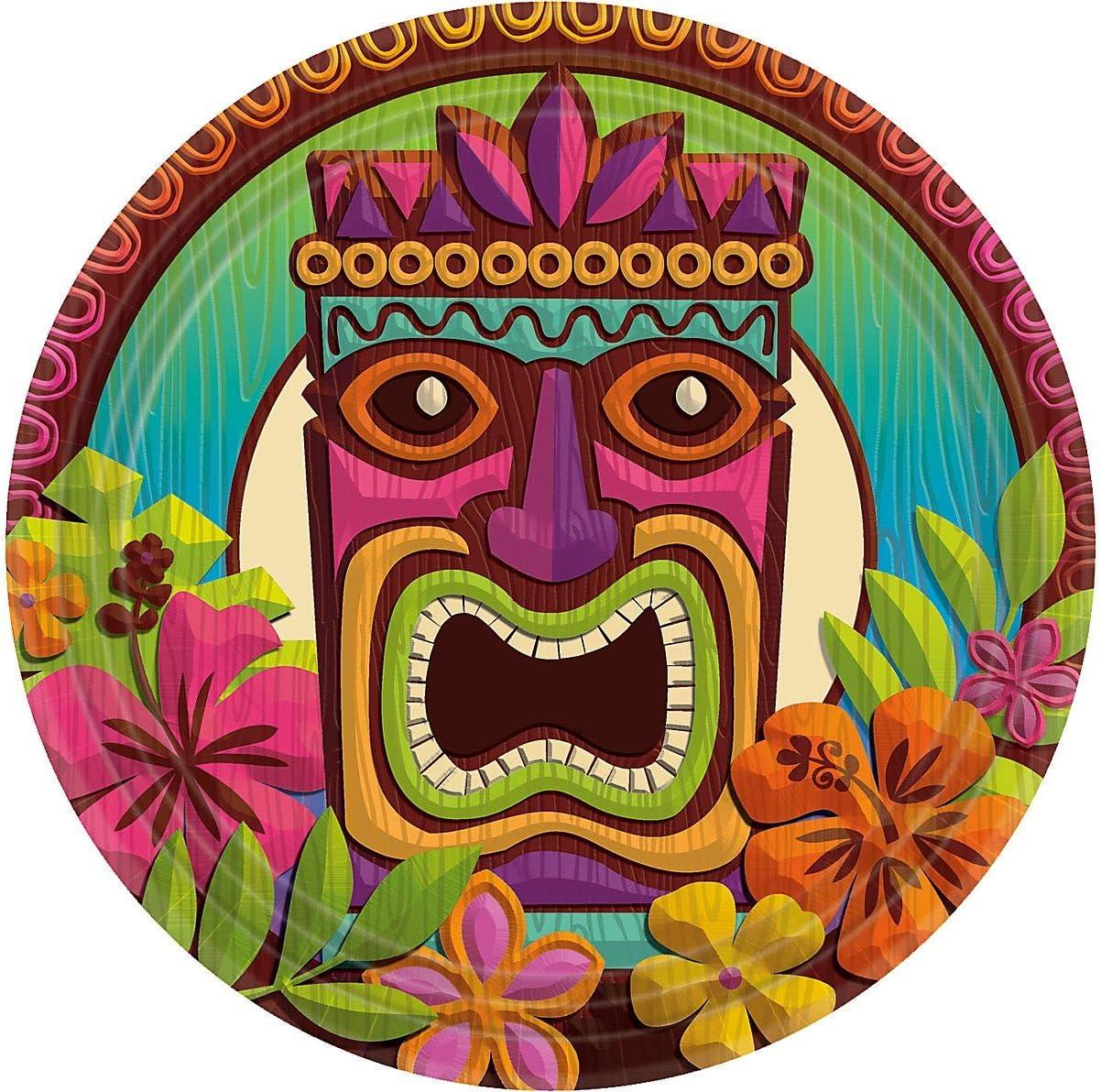 7 60 Ct. AmscanTropical Tiki Party Dessert Plates