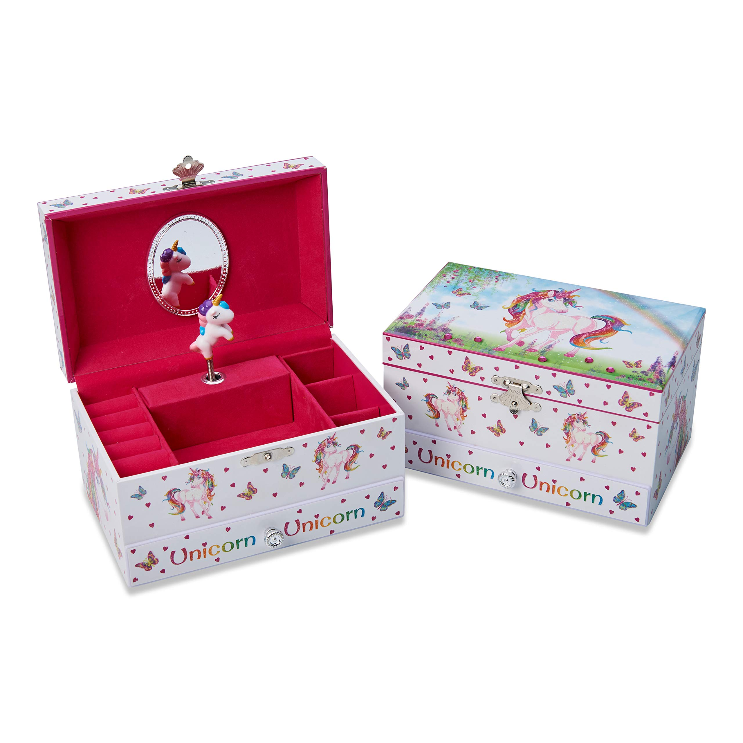 Lucy Locket Magical Unicorn Musical Jewelry Box for Children - Pink Glittery Jewelry Box for Girls and Boys with Ring Holder