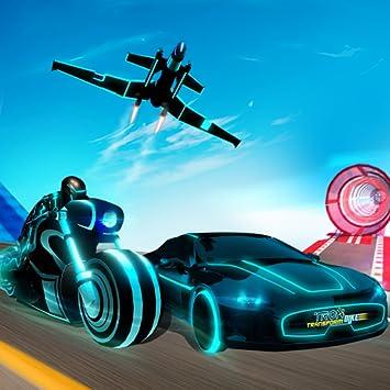 Tron Bike Transform Car Driving Simulator | Sci-fi bike adventure | Mega  ramp stunts | extreme bike stunts | real car driving simulator | Car Games  |