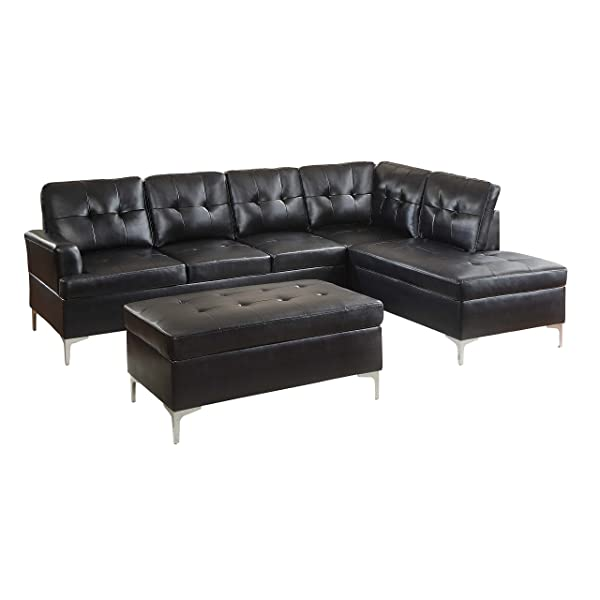 Homelegance 3-Piece Tufted Accent Sectional Sofa with Chaise and Ottoman Bi-Cast Vinyl, Black