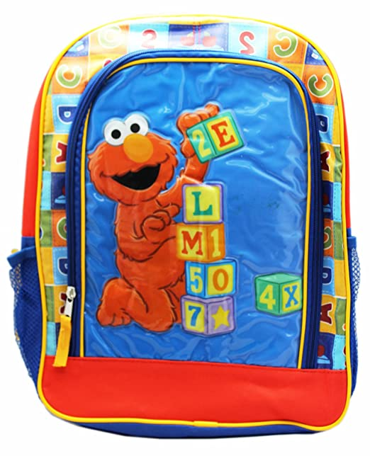 653fb526fce0 Image Unavailable. Image not available for. Color  Sesame Street Elmo  Building With Blocks Full Size Kids School Backpack ...
