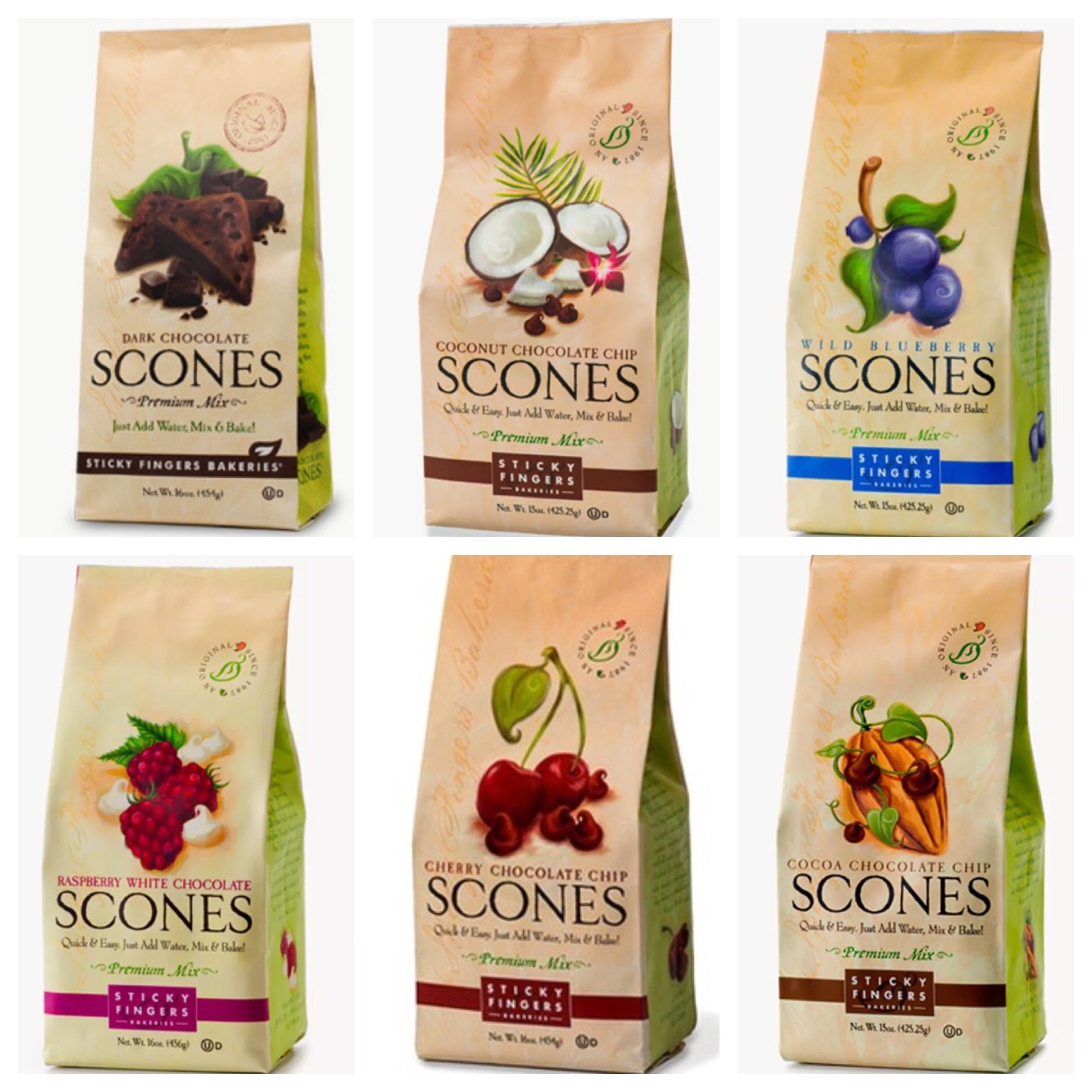 Sticky Fingers Bakeries Scones Mixes (Variety - Pack of 6) Raspberry White Chocolate, Wild Blueberry, Cherry Chocolate Chip, Cocoa Chocolate Chip, Toasted Coconut Chocolate Chip, and Dark Chocolate