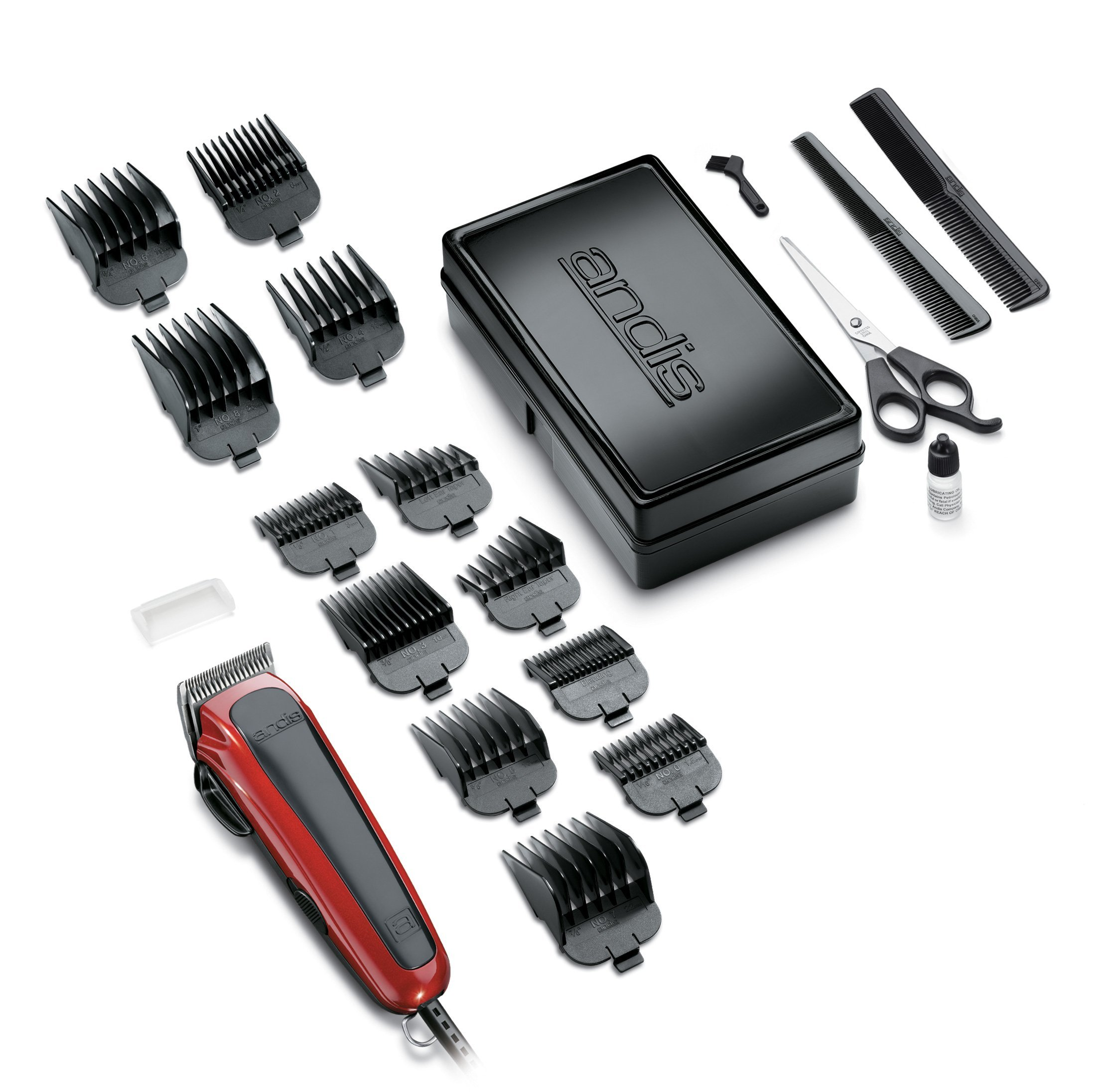 Andis Easy Cut 20-Piece Haircutting Kit, Red/Black (75360) by Andis (Image #1)