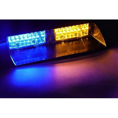Jackey AwesomeCar 16-led 18 Flashing Mode Emergency Vehicle Dash Warning Strobe Flash Light (Amber & Blue): Automotive