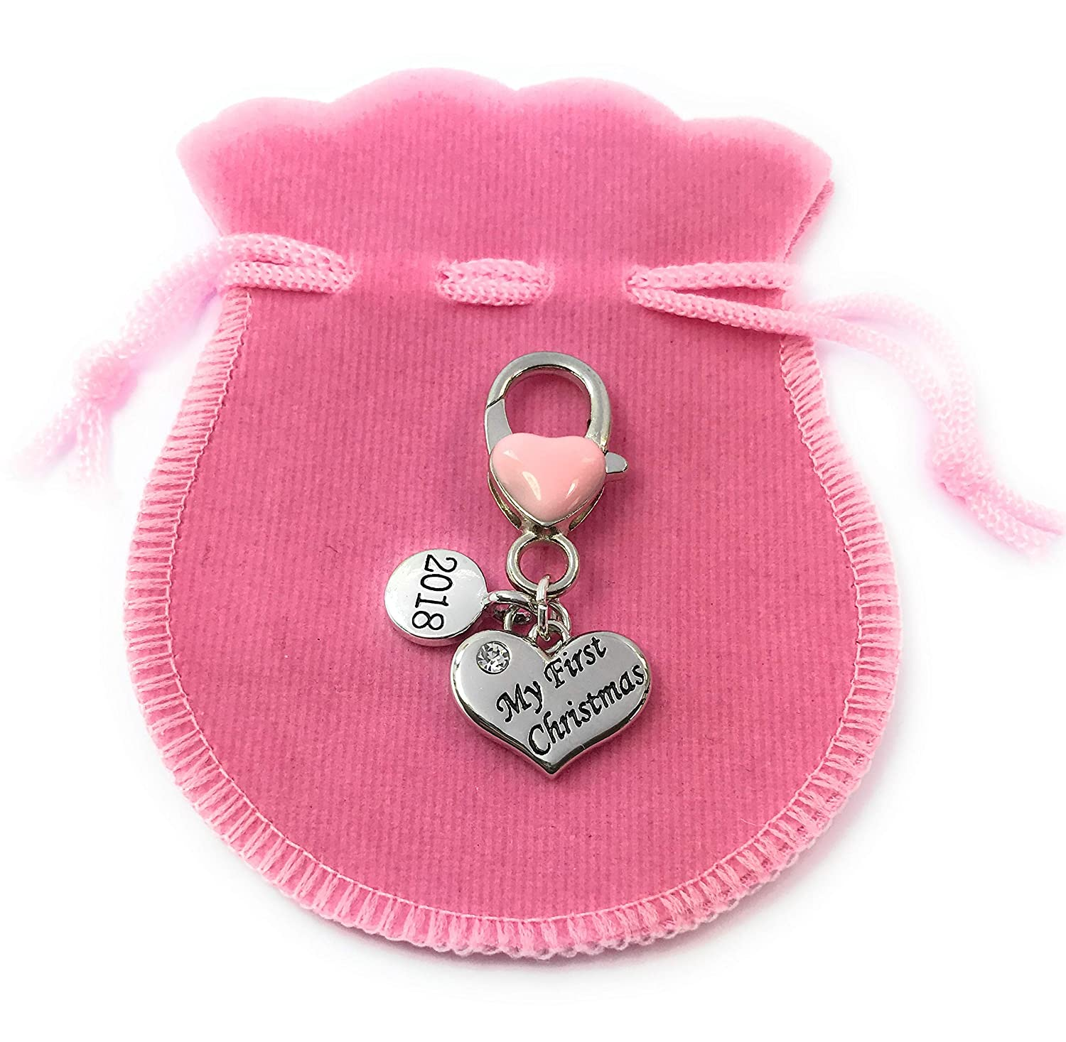 Baby Girl My First Christmas 2018 Keepsake Charms Keyring with Pink Velvet Gift Bag and a Gift Card by Libby's Market Place - from UK Seller Libby's Market Place