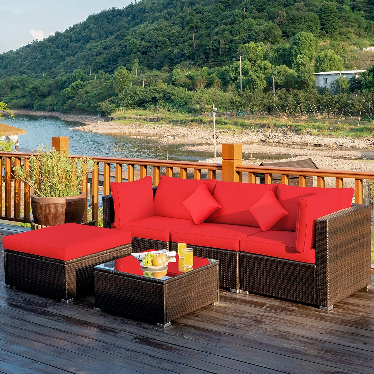 Tangkula 5 PCS Patio Rattan Furniture Set, Outdoor Sectional Rattan Sofa Set with Back & Seat Cushions, Wicker Conversation Set with Tempered Glass Table for Backyard Porch Garden Poolside (Red)