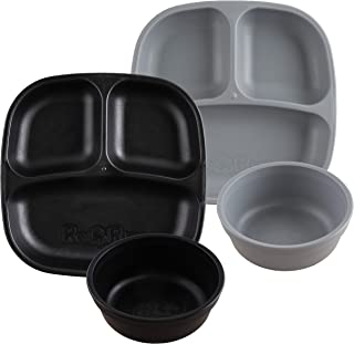product image for Re-Play Made in USA 4pk Starter Dining Set of 2 Divided Plates with 2 Matching Bowls in Black and Grey. Made from Eco Friendly Heavyweight Recycled Milk Jugs - Virtually Indestructible!