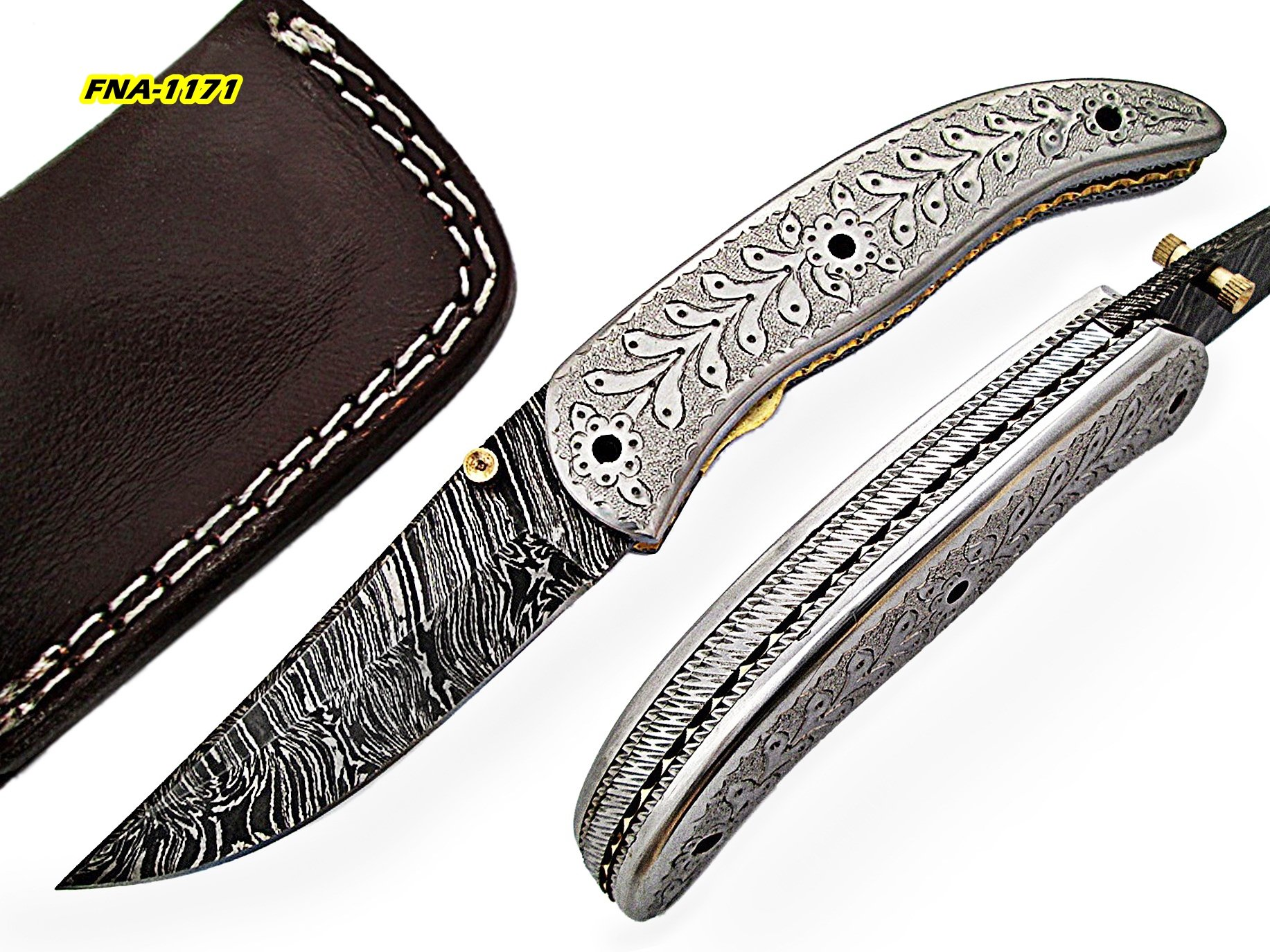 FNA-1171, Custom Handmade Damascus Steel 7.3 Inches Folding Knife - Gorgeous Engraving Work on Stainless Steel Handle