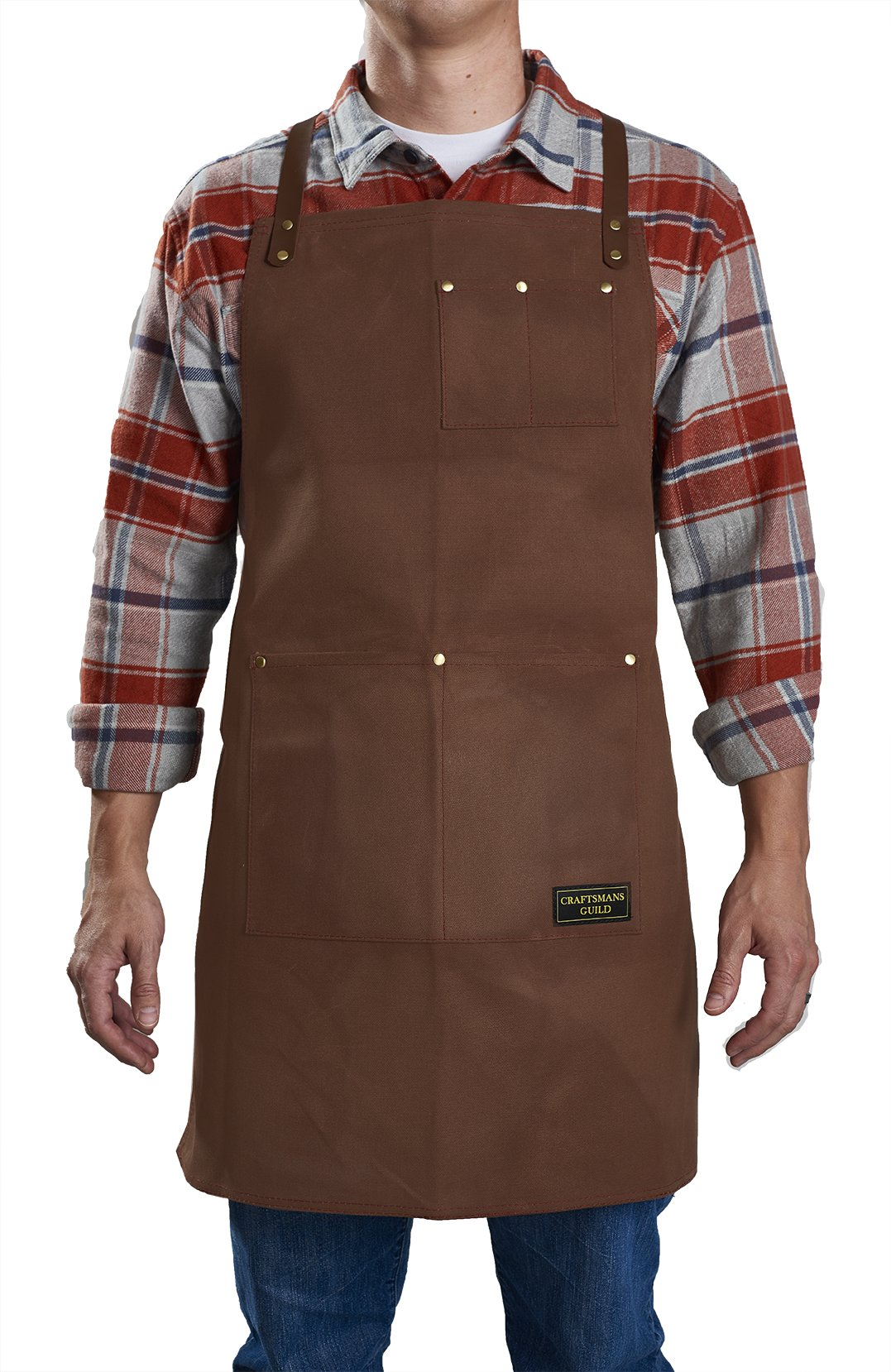 Craftsmans Guild Waxed Canvas Heavy Duty Apron Leather Straps Utility Tool BBQ Cooking Chefs Cooks Shop Woodworking for Men & Women