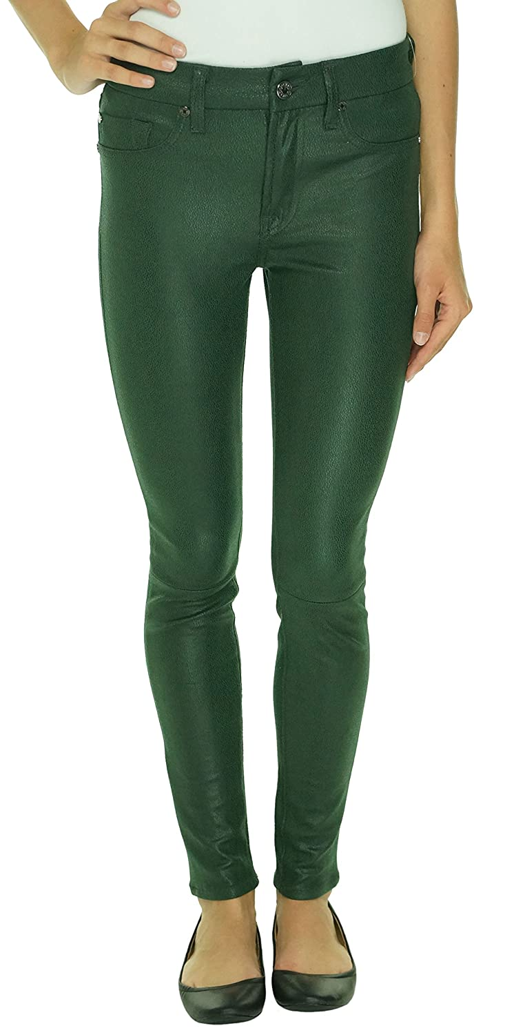 7 For All Mankind Jeans Women's Seamed Skinny Leather-Like Pants in Forest Green Crackle AU0382388A
