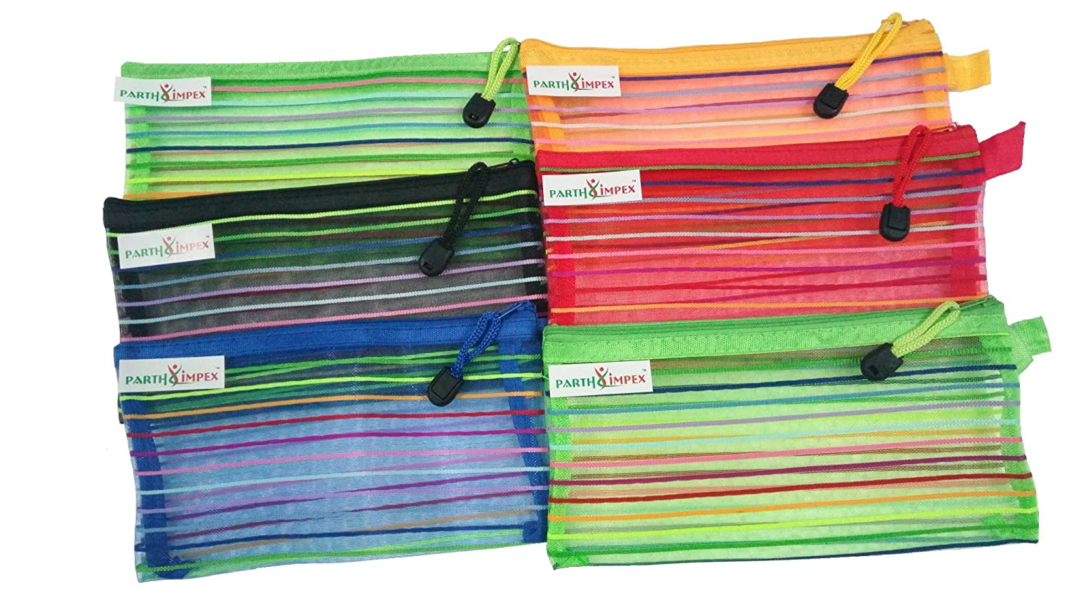 """PARTH IMPEX Mesh Pouch with Zipper (Pack of 6) Multipurpose Travel Storage Organizer Jewelry Candy Cosmetic Toiletry Stationary Pen Pencil Makeup Bag Assorted Colors (Approx L 4.8"""" X W 9"""")"""