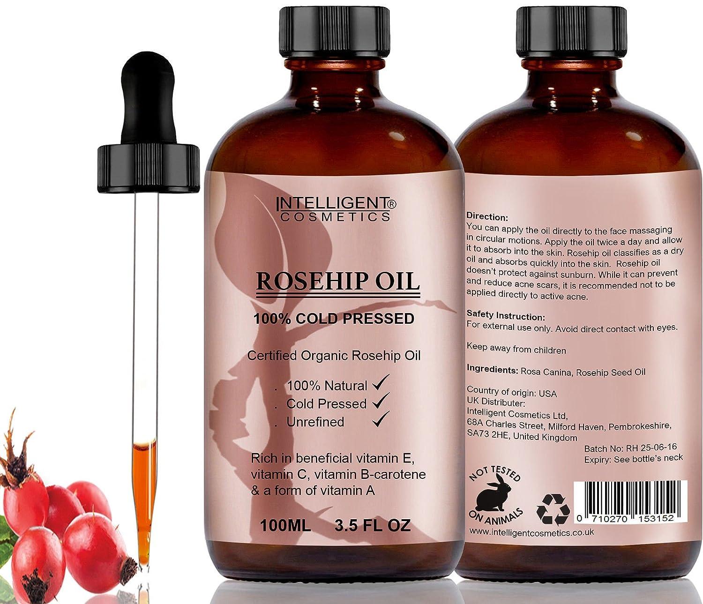 Olio puro di rosa mosqueta, 100% organico e spremuto a freddo, l'olio più noto per il viso con vitamina E, vitamina C, B-carotene e a forma di vitamina A (100ml) Intelligent Cosmetics
