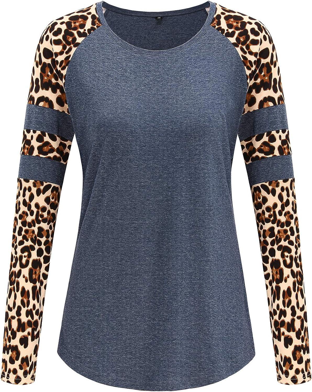 STYLEWORD Womens Long Sleeve Leopard Print Raglan T Shirts Color Block Casual Tunic Tops