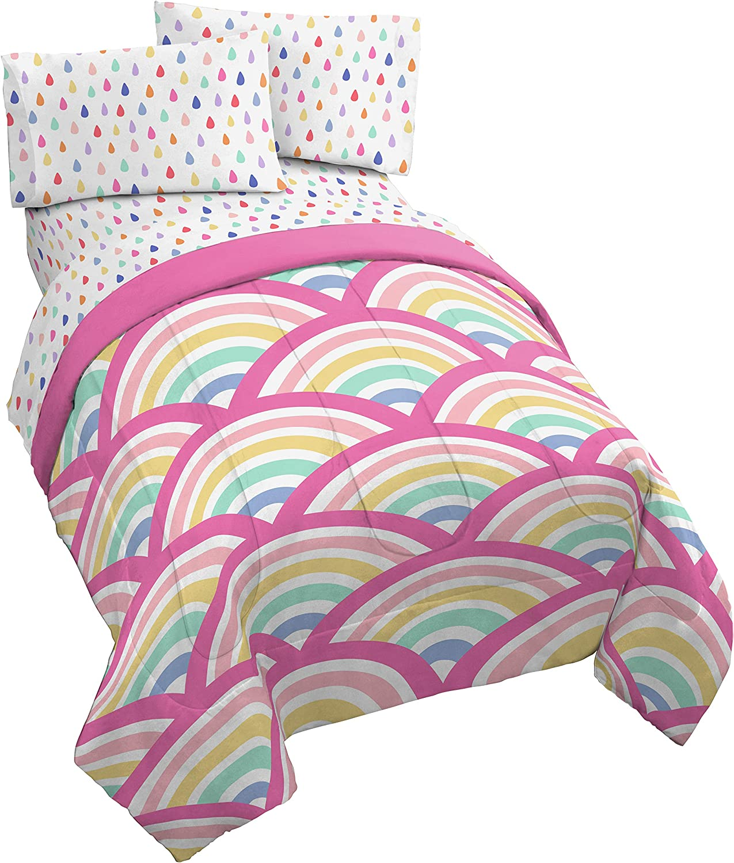 Jay Franco Rainbow Dream 4 Piece Twin Bed Set - Includes Reversible Comforter & Sheet Set - Super Soft Fade Resistant Microfiber
