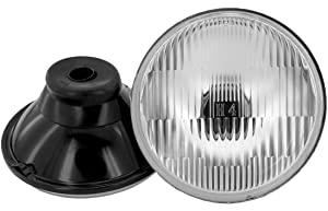 """GS Power's Chrome OEM style 5 inch Round (Acutal Size: 5.75"""") Glass Lens Housing H4 HID LED Halogen High Low Beam Headlight Lamp Conversion Replacement (2 pc)"""