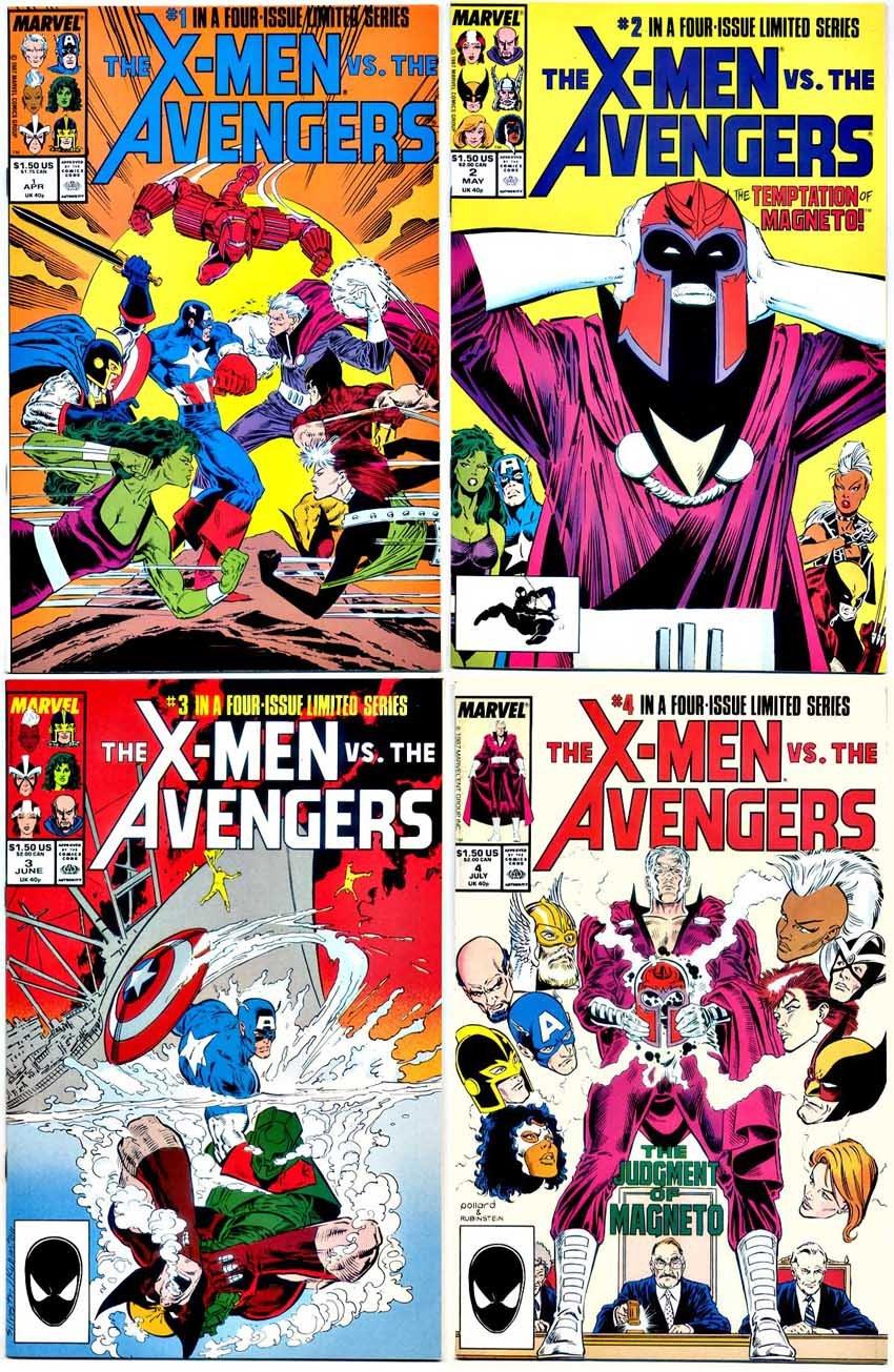 X-Men vs the Avengers #1 2 3 4 Marvel Mini Series 1987 Comic Book Set 1-4