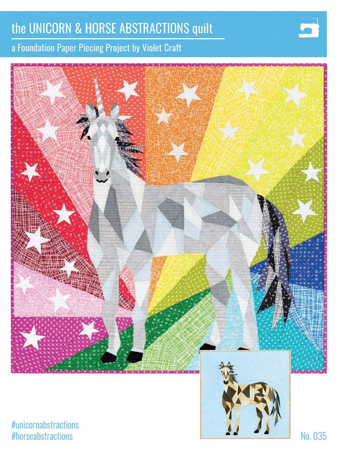 The Unicorn /& Horse Abstractions Foundation Paper Piecing Quilt Pattern by Violet Craft