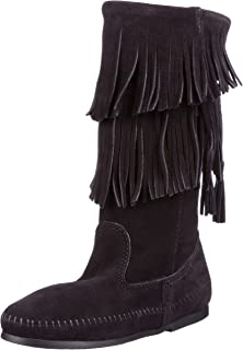 Amazon.com | Minnetonka Women's 3-Layer Fringe Boot | Mid-Calf