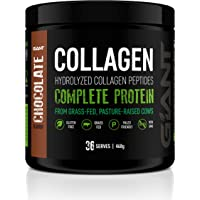 Giant Sports Complete Pure Collagen Peptides with Added L-Tryptophan, Grass-Fed, Pasture-Raised, Chocolate, 1lbs, 468 grams