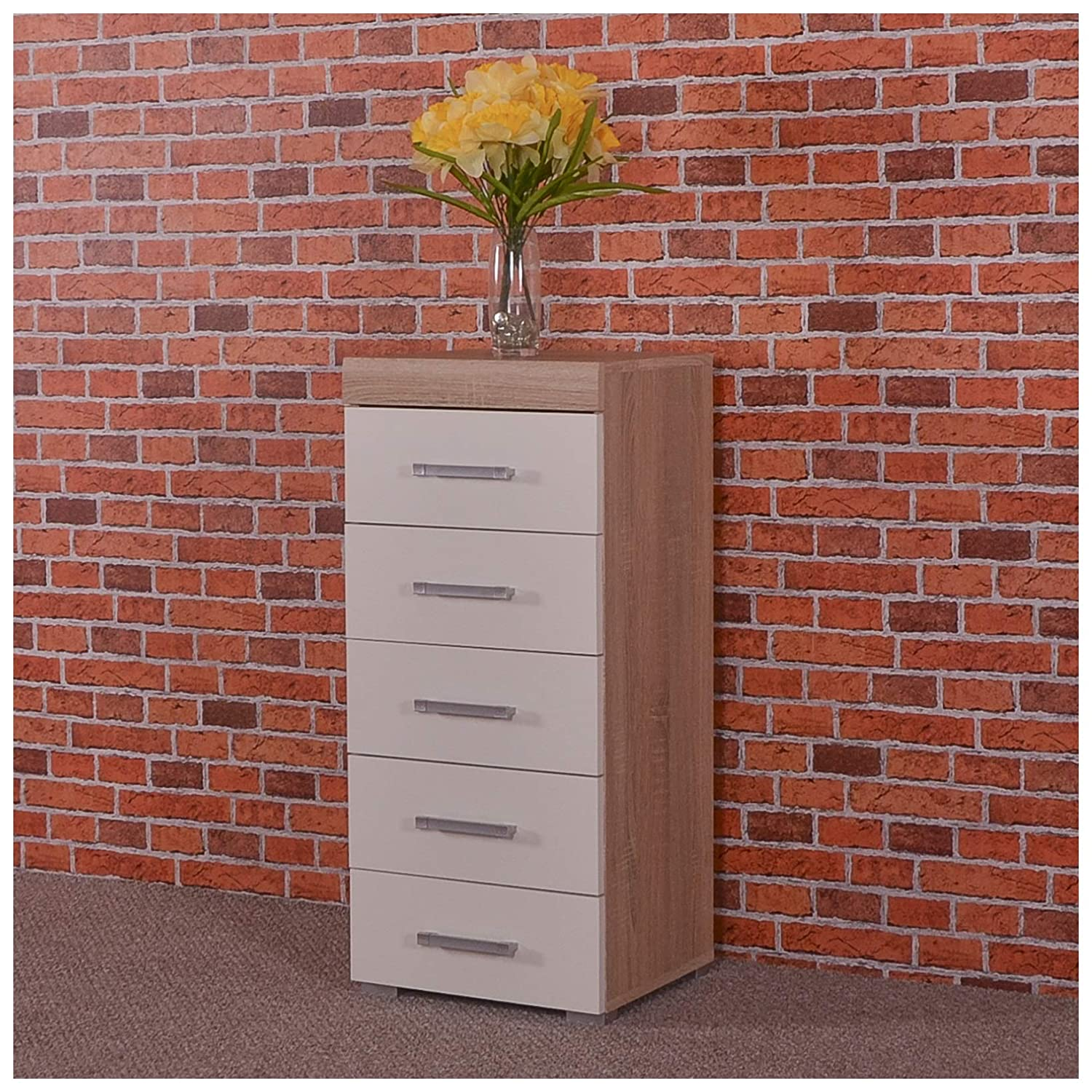 DRP Trading White & Sonoma Oak Tall Boy Chest of 5 Drawers Bedroom Furniture - Narrow Slim Draw