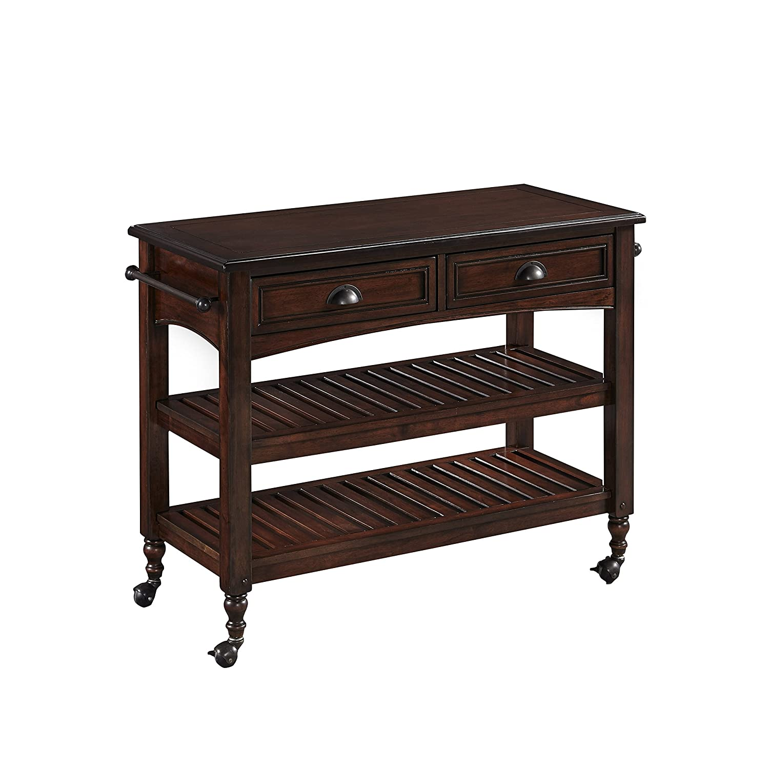 Country Comfort Aged Bourbon Kitchen Cart with Wood Top by Home Styles